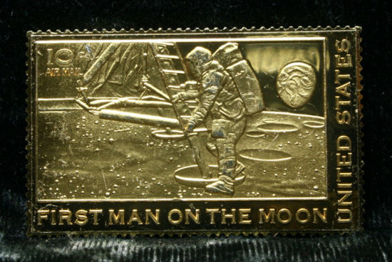 Postal Service Commemorative Gold Stamp First Man On The Moon 999 Fine Silver