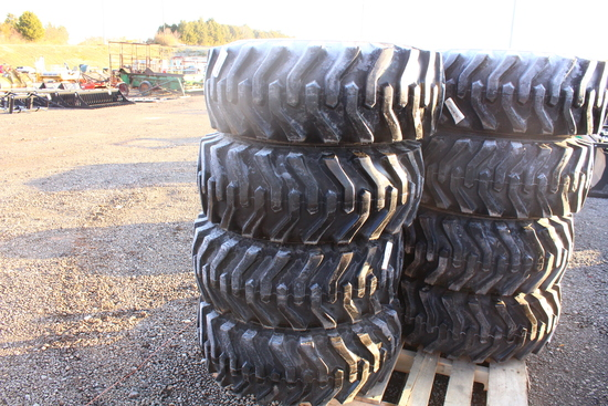 UNUSED QTY 4) 12-16.5 SKID STEER TIRES ON RIMS FITS NH / JD / CAT, SKS332, TAG #8493