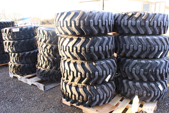 UNUSED QTY 4) 12-16.5 SKID STEER TIRES ON RIMS FITS BOBCAT, SKS332, TAG #8494