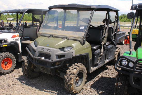 POLARIS CREW DIESEL UTV 4 SEATER, 4WD, WINDSHEILD, ROOF AND BACK GLASS, VIN# 4XAWH90D4D2713544 TAG#