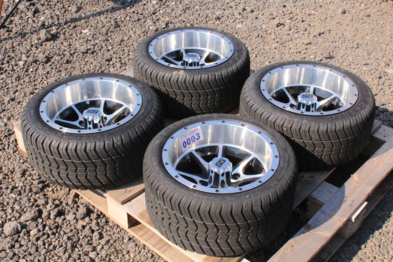 SET OF 4 SS GOLF CART RIMS AND TIRES TAG # 4268
