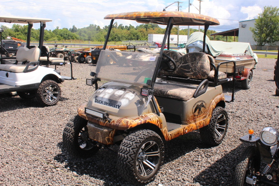 CLUB CART 48V 4 SEATER GOLF CART, DUCK DYNASTY EDITION, TOP, WINDSHIELD, STEREO SYSTEM, LIFTED, TAG#