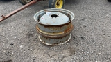 QTY 2) 12X28 MASSEY OR FORD RIMS AND CENTERS