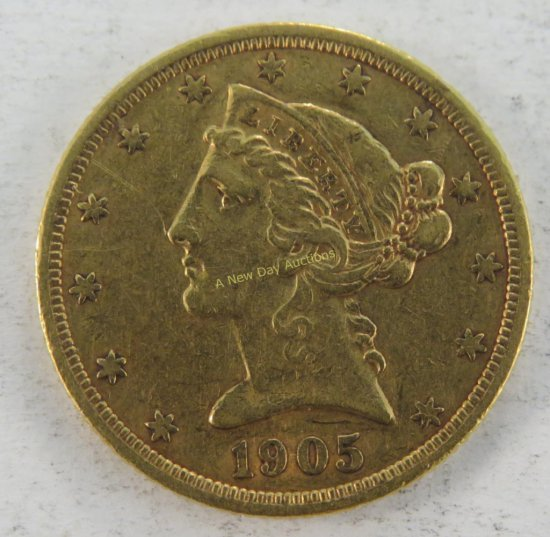 1905 S $5 Gold Liberty Head Half Eagle