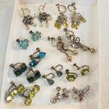 10 pairs sterling silver screw back earrings
