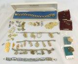3 charm bracelets & enamel souvenir bracelet