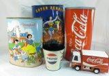 Vintage Tin Garbage Cans Disneyland, Superheroes