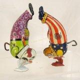 2 J. Chein Tin Windup Handstand Clowns