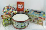 Vintage Tin Peanuts Toys, Drums, Top, Misc