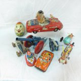 Vintage Tin Toys, Just Married Car, Helicopter