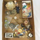 Vintage pin backs, plastic charms, cap gun, bells