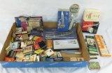 Vintage compass sets, pens, match books & more