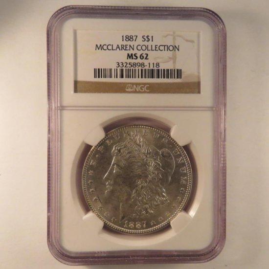 1887 Morgan Silver Dollar NGC Graded MS62