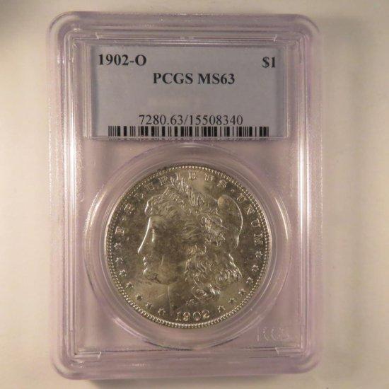 1902 O Morgan Silver Dollar PCGS Graded MS63
