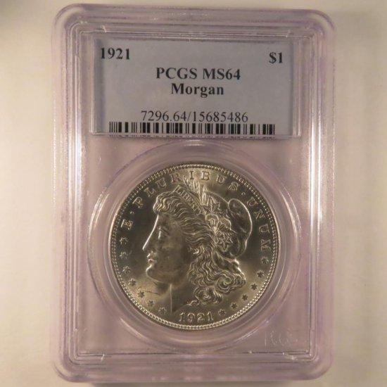 1921 Morgan Silver Dollar NGC Graded MS64
