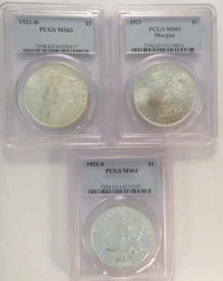1921 P,D,S Morgan Silver Dollars NGC Graded MS63