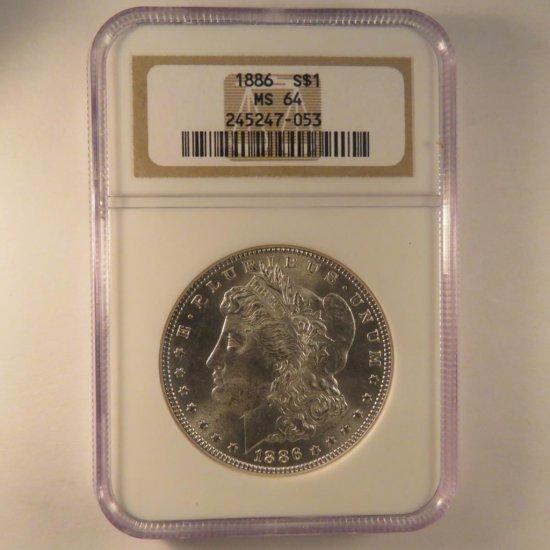 1886 Morgan Silver Dollar NGC Graded MS64