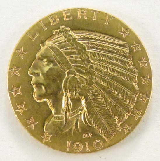 1910 S $5 Gold Indian Head Half Eagle