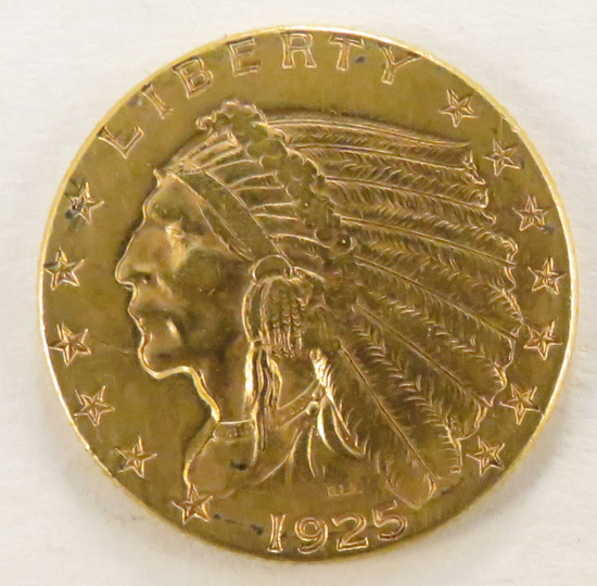 1925 D $2 1/2 Gold Indian Head Quarter Eagle