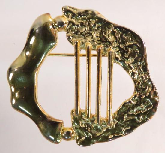 Rachel Gera Judaica harp brooch made in Israel 84
