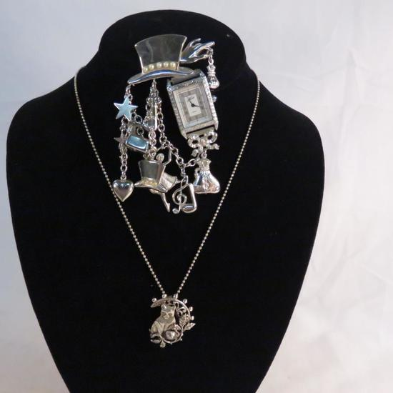 Kirk's Folly charm watch brooch & necklace