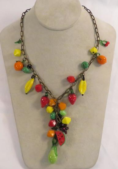 Vintage unsigned poured glass fruit necklace