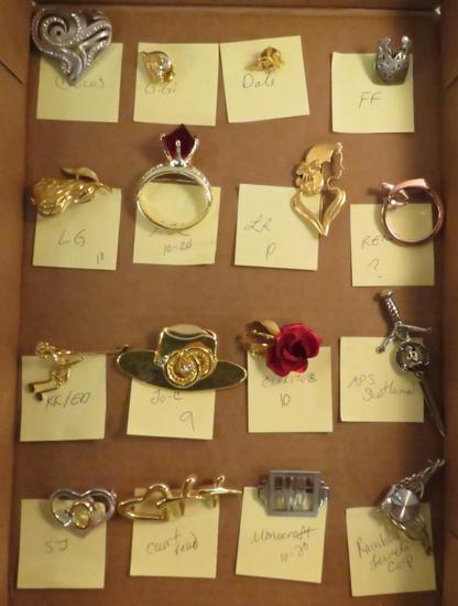 16 signed brooches- Chico's, Gigi, Dale, FF, LG