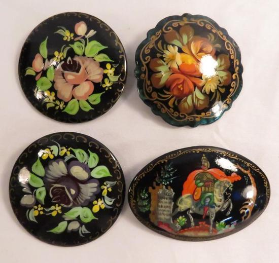 4 Vintage wooden lacquer Russian brooches-3 signed