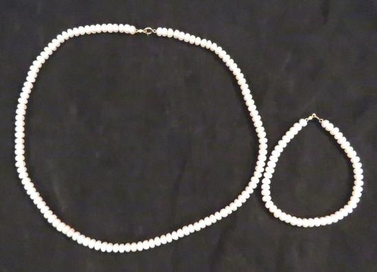 Mei Pearl necklace and Bracelet with 10kt clasps