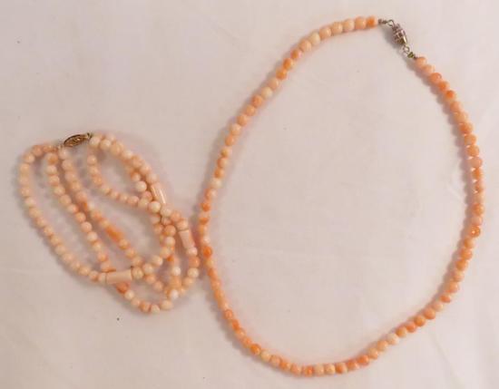 Angel skin coral necklace & bracelet (14K GSJ)