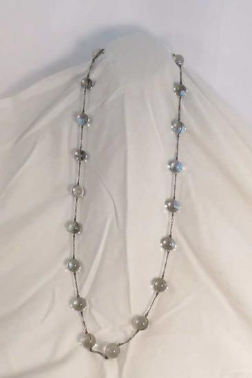Sterling pools of light rock crystal orb necklace