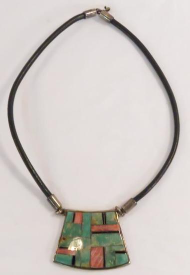 B. G. Mudd signed turquoise inlay pendant necklace
