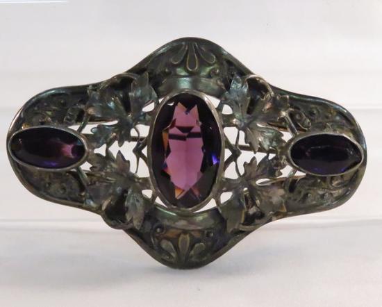 Antique art nouveau brooch w/ purple glass stones