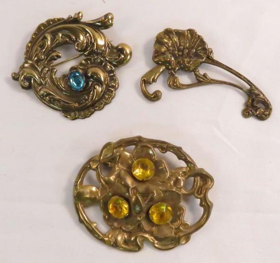 3 Antique art nouveau brooches- 2 w/ glass stones