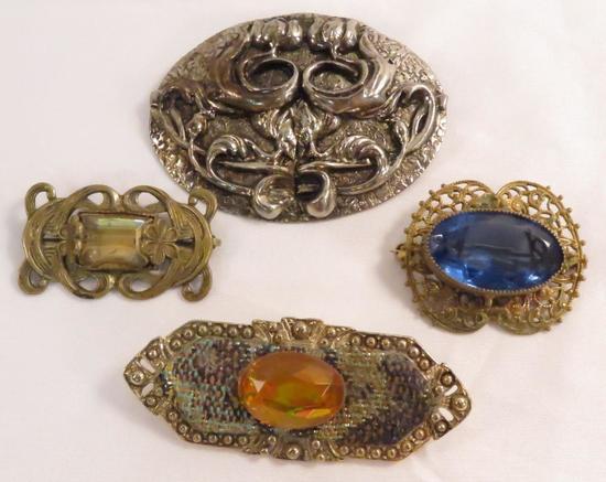 4 antique art nouveau brooches- 3 w/ stones