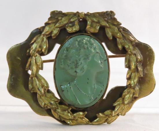 Antique art nouveau green metal cameo brooch