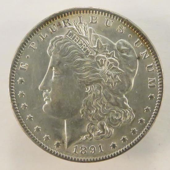 1891 Morgan Silver Dollar AU