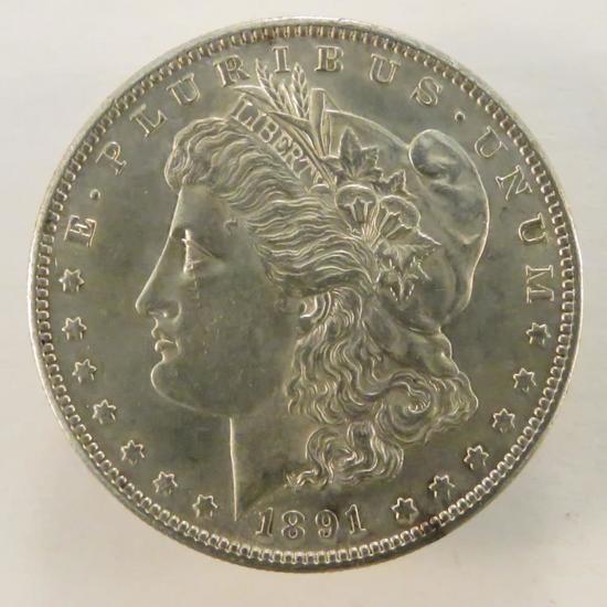 1891 S Morgan Silver Dollar AU