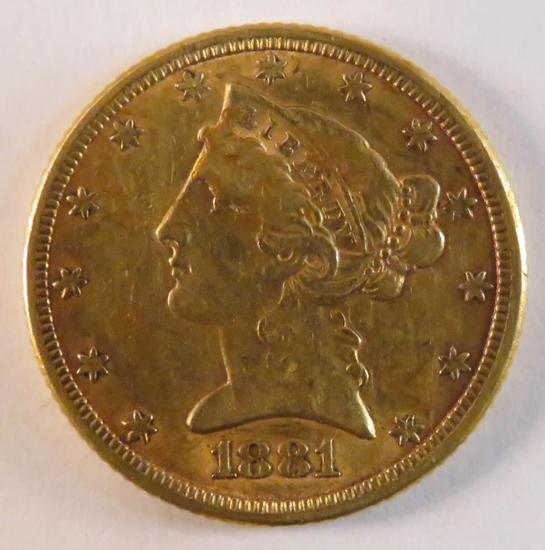 1881 $5 Gold Liberty Head Half Eagle