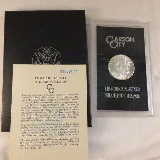 1884 CC Morgan Silver Dollar BU in GSA case