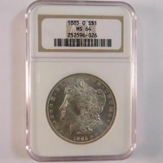 1885 Morgan Silver Dollar NGC Graded MS64