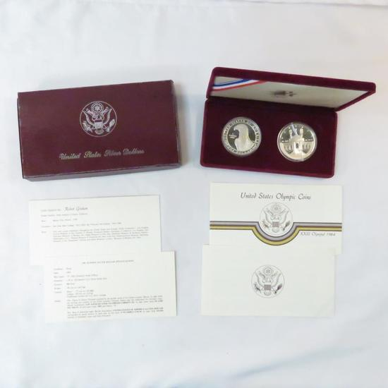 1983/1984 2 Silver Dollar Olympic Proof set