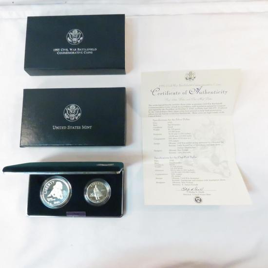 1995 S Civil War Battlefield 2 coin Proof Silver