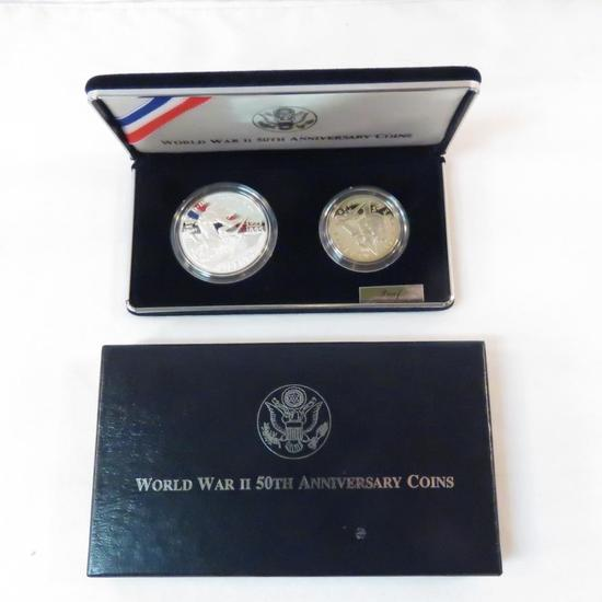 1991-1995 W WWII 50th Ann 2 coin Silver Proof