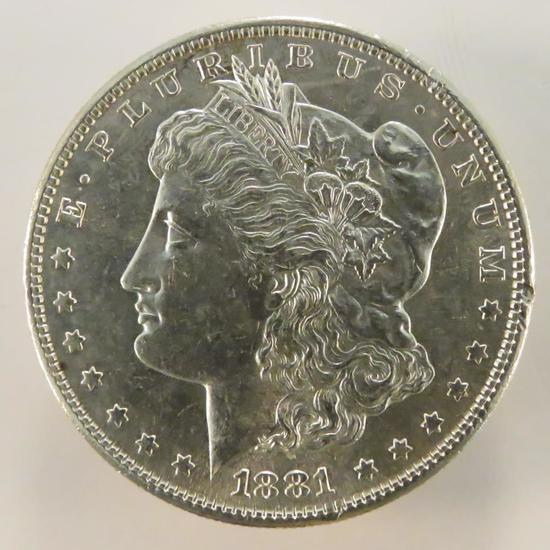 1881 S Morgan Silver Dollar AU