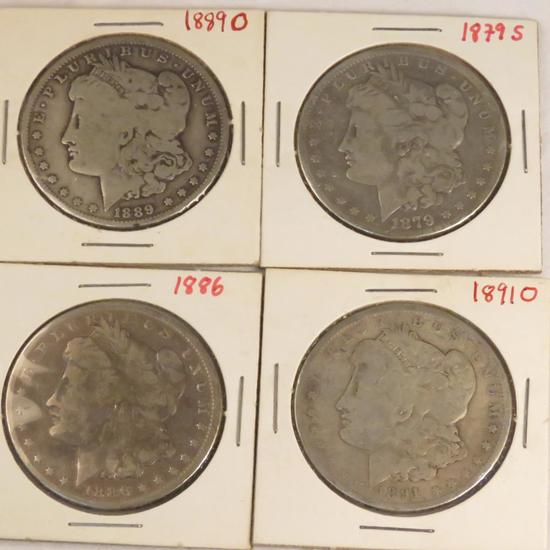 1886, 1879 S, 1889 O, 1891 O Morgan Silver Dollars