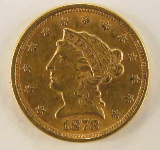 1878 $2 1/2 Gold Liberty Head Quarter Eagle
