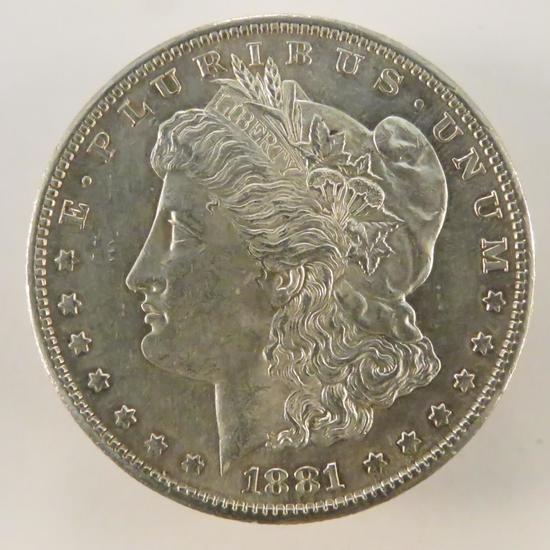 1881 S Morgan Silver Dollar AU