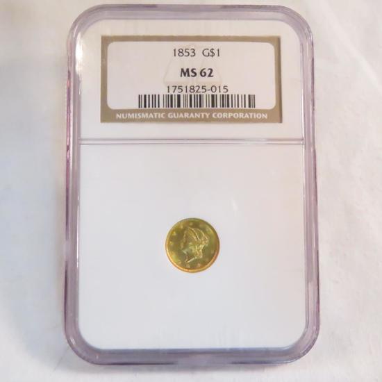 1853 1$ Gold Liberty Head NGC Graded MS62