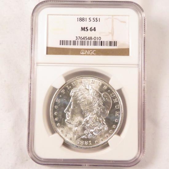 1881 S Morgan Silver Dollar NGC Graded MS64